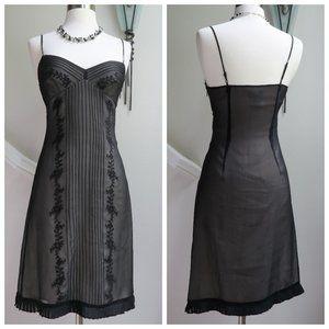 BCBGMAXAZRIA Black Silk Chiffon Embroidered Dress